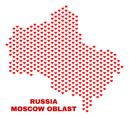Mosaic Moscow Region map of love hearts in red color isolated on a white background. Regular red heart pattern in shape of Moscow Region map. Abstract design for Valentine illustrations. Stock Illustratie