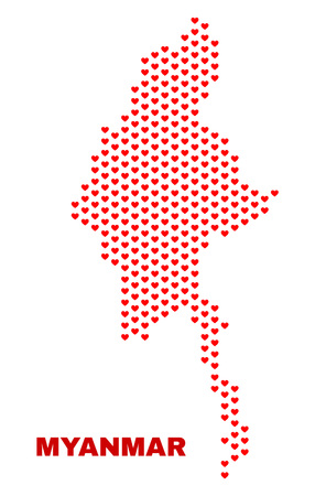Mosaic Myanmar map of heart hearts in red color isolated on a white background. Regular red heart pattern in shape of Myanmar map. Abstract design for Valentine illustrations.