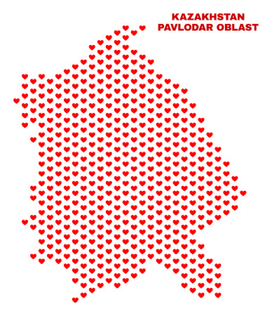 Mosaic Pavlodar Region map of heart hearts in red color isolated on a white background. Regular red heart pattern in shape of Pavlodar Region map. Abstract design for Valentine illustrations.