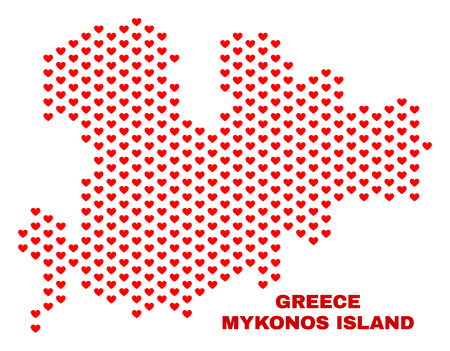 Mosaic Mykonos Island map of valentine hearts in red color isolated on a white background. Regular red heart pattern in shape of Mykonos Island map. Abstract design for Valentine illustrations. Stock Illustratie