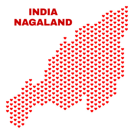 Mosaic Nagaland State map of valentine hearts in red color isolated on a white background. Regular red heart pattern in shape of Nagaland State map. Abstract design for Valentine illustrations. Stock Illustratie