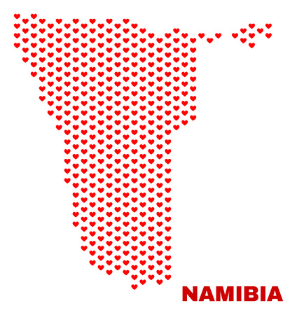 Mosaic Namibia map of valentine hearts in red color isolated on a white background. Regular red heart pattern in shape of Namibia map. Abstract design for Valentine illustrations.