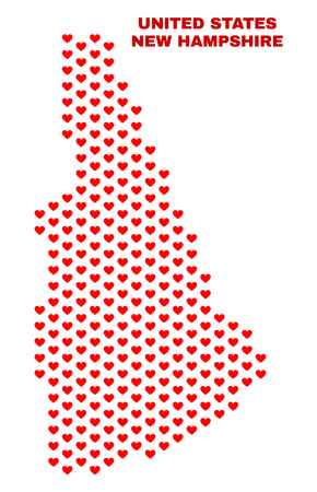 Mosaic New Hampshire State map of love hearts in red color isolated on a white background. Regular red heart pattern in shape of New Hampshire State map. Abstract design for Valentine decoration. Stock Illustratie