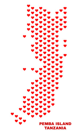 Mosaic Pemba island map of love hearts in red color isolated on a white background. Regular red heart pattern in shape of Pemba island map. Abstract design for Valentine decoration.