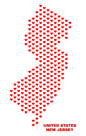 Mosaic New Jersey State map of love hearts in red color isolated on a white background. Regular red heart pattern in shape of New Jersey State map. Abstract design for Valentine illustrations. Stock Illustratie