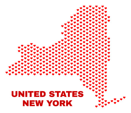 Mosaic New York State map of heart hearts in red color isolated on a white background. Regular red heart pattern in shape of New York State map. Abstract design for Valentine decoration.