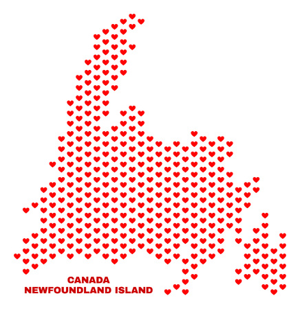 Mosaic Newfoundland Island map of love hearts in red color isolated on a white background. Regular red heart pattern in shape of Newfoundland Island map. Abstract design for Valentine illustrations.