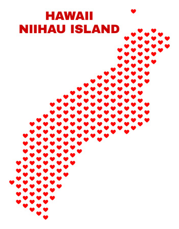 Mosaic Niihau Island map of heart hearts in red color isolated on a white background. Regular red heart pattern in shape of Niihau Island map. Abstract design for Valentine illustrations.