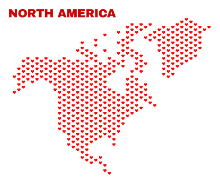 Mosaic North America map of valentine hearts in red color isolated on a white background. Regular red heart pattern in shape of North America map. Abstract design for Valentine illustrations.