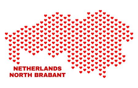 Mosaic North Brabant Province map of love hearts in red color isolated on a white background. Regular red heart pattern in shape of North Brabant Province map. Stock Illustratie