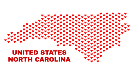 Mosaic North Carolina State map of valentine hearts in red color isolated on a white background. Regular red heart pattern in shape of North Carolina State map. Stock Illustratie
