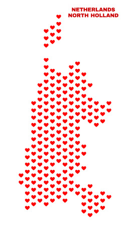 Mosaic North Holland map of valentine hearts in red color isolated on a white background. Regular red heart pattern in shape of North Holland map. Abstract design for Valentine illustrations.