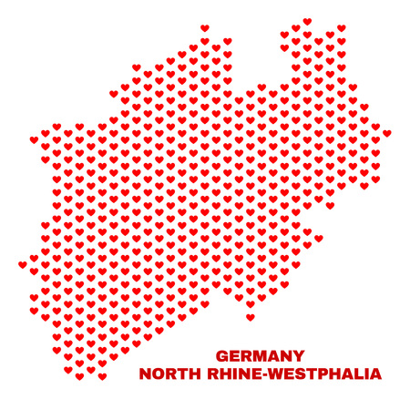 Mosaic North Rhine-Westphalia Land map of love hearts in red color isolated on a white background. Regular red heart pattern in shape of North Rhine-Westphalia Land map.
