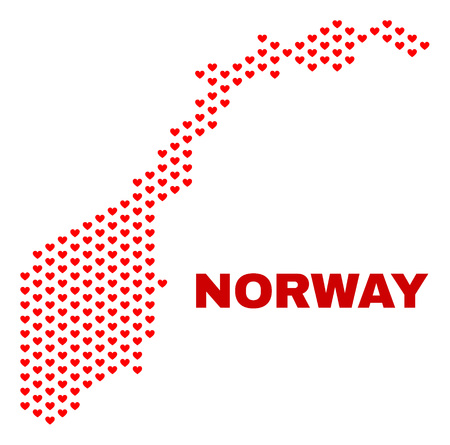 Mosaic Norway map of love hearts in red color isolated on a white background. Regular red heart pattern in shape of Norway map. Abstract design for Valentine illustrations.