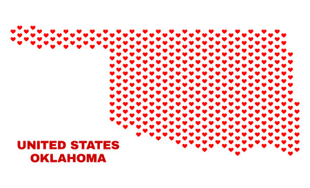 Mosaic Oklahoma State map of love hearts in red color isolated on a white background. Regular red heart pattern in shape of Oklahoma State map. Abstract design for Valentine decoration.