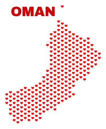 Mosaic Oman map of love hearts in red color isolated on a white background. Regular red heart pattern in shape of Oman map. Abstract design for Valentine illustrations.