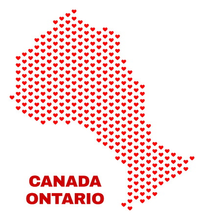 Mosaic Ontario Province map of love hearts in red color isolated on a white background. Regular red heart pattern in shape of Ontario Province map. Abstract design for Valentine illustrations.