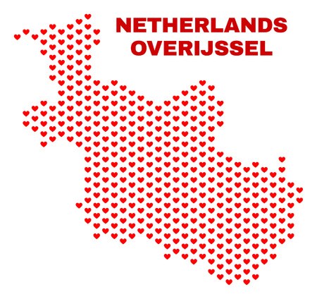 Mosaic Overijssel Province map of heart hearts in red color isolated on a white background. Regular red heart pattern in shape of Overijssel Province map. Abstract design for Valentine decoration.