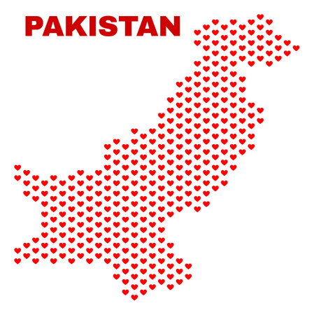 Mosaic Pakistan map of heart hearts in red color isolated on a white background. Regular red heart pattern in shape of Pakistan map. Abstract design for Valentine illustrations.