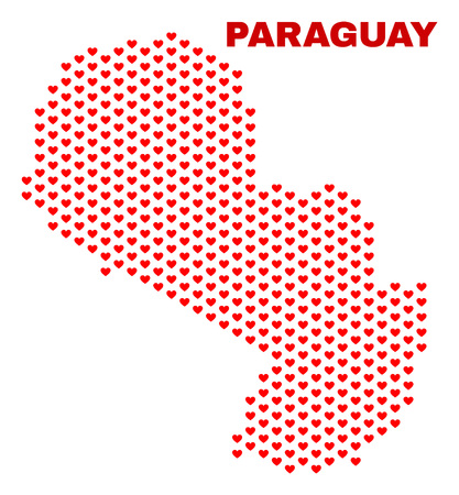 Mosaic Paraguay map of love hearts in red color isolated on a white background. Regular red heart pattern in shape of Paraguay map. Abstract design for Valentine illustrations.