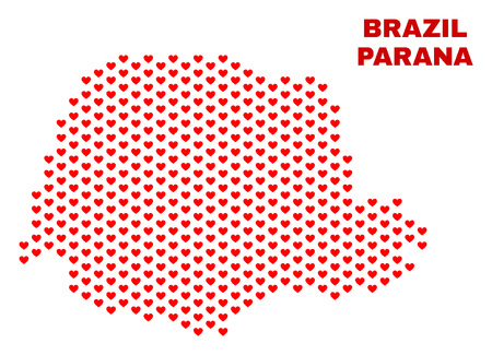 Mosaic Parana State map of love hearts in red color isolated on a white background. Regular red heart pattern in shape of Parana State map. Abstract design for Valentine illustrations.