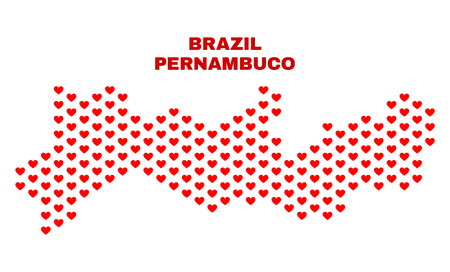 Mosaic Pernambuco State map of valentine hearts in red color isolated on a white background. Regular red heart pattern in shape of Pernambuco State map. Abstract design for Valentine illustrations.