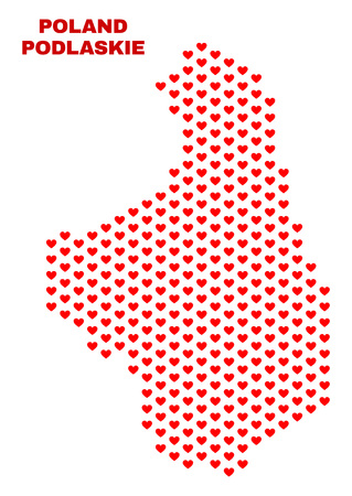Mosaic Podlaskie Voivodeship map of heart hearts in red color isolated on a white background. Regular red heart pattern in shape of Podlaskie Voivodeship map.