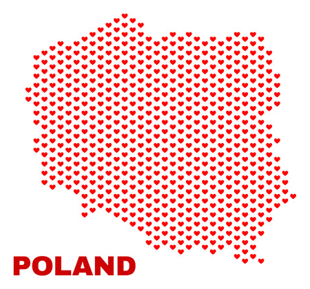 Mosaic Poland map of heart hearts in red color isolated on a white background. Regular red heart pattern in shape of Poland map. Abstract design for Valentine decoration.