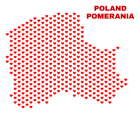 Mosaic Pomeranian Voivodeship map of valentine hearts in red color isolated on a white background. Regular red heart pattern in shape of Pomeranian Voivodeship map.