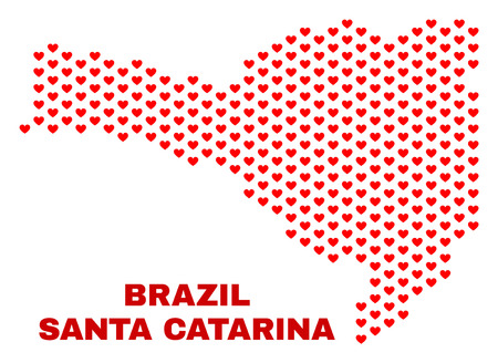 Mosaic Santa Catarina State map of valentine hearts in red color isolated on a white background. Regular red heart pattern in shape of Santa Catarina State map.