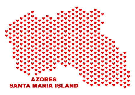 Mosaic Santa Maria Island map of heart hearts in red color isolated on a white background. Regular red heart pattern in shape of Santa Maria Island map. Abstract design for Valentine decoration.