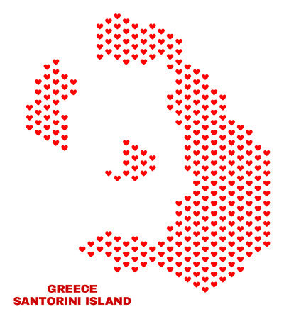 Mosaic Santorini Island map of heart hearts in red color isolated on a white background. Regular red heart pattern in shape of Santorini Island map. Abstract design for Valentine illustrations.