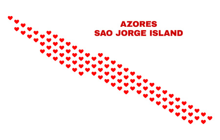 Mosaic Sao Jorge Island map of love hearts in red color isolated on a white background. Regular red heart pattern in shape of Sao Jorge Island map. Abstract design for Valentine illustrations.
