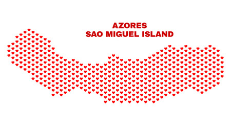 Mosaic Sao Miguel Island map of valentine hearts in red color isolated on a white background. Regular red heart pattern in shape of Sao Miguel Island map. Abstract design for Valentine illustrations.