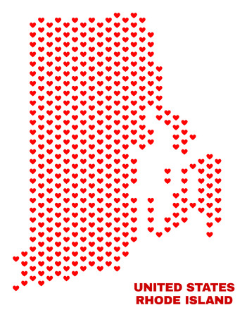 Mosaic Rhode Island State map of heart hearts in red color isolated on a white background. Regular red heart pattern in shape of Rhode Island State map. Abstract design for Valentine decoration. Stock Illustratie