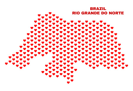 Mosaic Rio Grande do Norte State map of valentine hearts in red color isolated on a white background. Regular red heart pattern in shape of Rio Grande do Norte State map. 일러스트