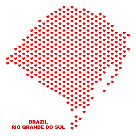 Mosaic Rio Grande do Sul State map of heart hearts in red color isolated on a white background. Regular red heart pattern in shape of Rio Grande do Sul State map.