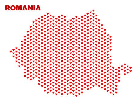 Mosaic Romania map of love hearts in red color isolated on a white background. Regular red heart pattern in shape of Romania map. Abstract design for Valentine illustrations. Stock Illustratie