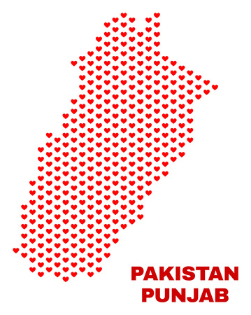 Mosaic Punjab Province map of valentine hearts in red color isolated on a white background. Regular red heart pattern in shape of Punjab Province map. Abstract design for Valentine decoration.