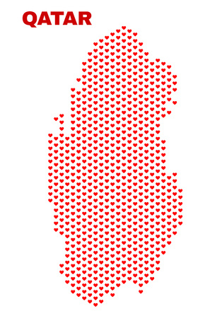 Mosaic Qatar map of valentine hearts in red color isolated on a white background. Regular red heart pattern in shape of Qatar map. Abstract design for Valentine decoration. Stock Illustratie