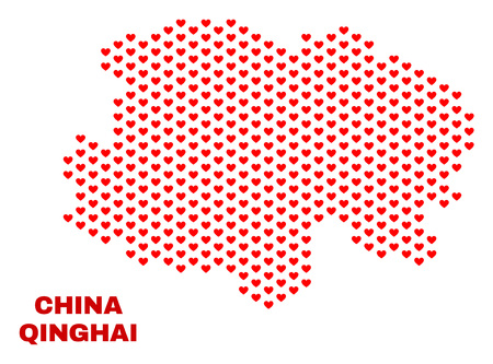 Mosaic Qinghai Province map of heart hearts in red color isolated on a white background. Regular red heart pattern in shape of Qinghai Province map. Abstract design for Valentine decoration.