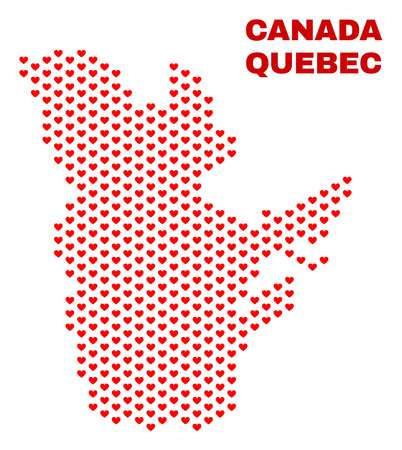 Mosaic Quebec Province map of valentine hearts in red color isolated on a white background. Regular red heart pattern in shape of Quebec Province map. Abstract design for Valentine decoration.