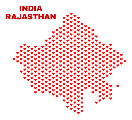 Mosaic Rajasthan State map of love hearts in red color isolated on a white background. Regular red heart pattern in shape of Rajasthan State map. Abstract design for Valentine decoration.