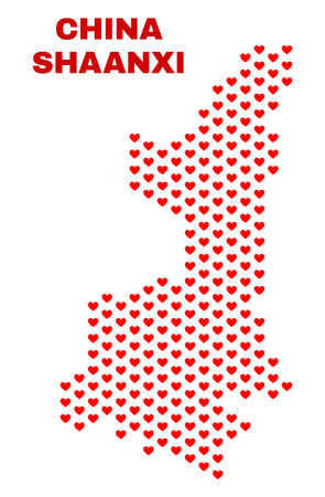 Mosaic Shaanxi Province map of love hearts in red color isolated on a white background. Regular red heart pattern in shape of Shaanxi Province map. Abstract design for Valentine decoration.