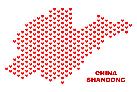 Mosaic Shandong Province map of heart hearts in red color isolated on a white background. Regular red heart pattern in shape of Shandong Province map. Abstract design for Valentine decoration. Stock Illustratie