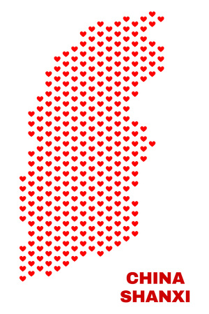 Mosaic Shanxi Province map of heart hearts in red color isolated on a white background. Regular red heart pattern in shape of Shanxi Province map. Abstract design for Valentine illustrations.