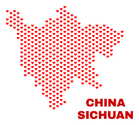 Mosaic Sichuan Province map of valentine hearts in red color isolated on a white background. Regular red heart pattern in shape of Sichuan Province map. Abstract design for Valentine decoration. Stock Illustratie