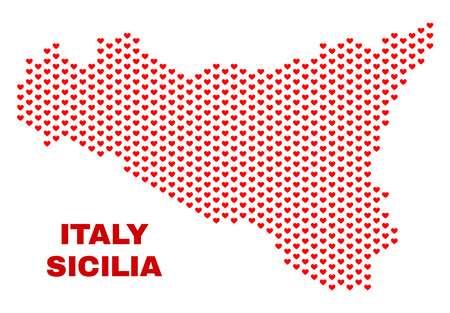 Mosaic Sicilia map of heart hearts in red color isolated on a white background. Regular red heart pattern in shape of Sicilia map. Abstract design for Valentine decoration. Stock Illustratie