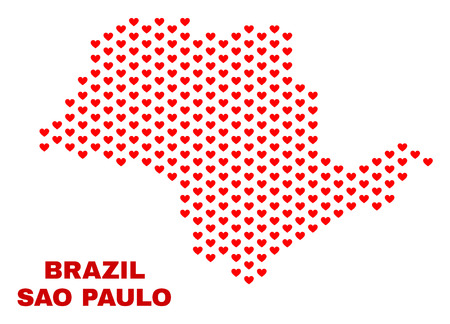 Mosaic Sao Paulo State map of love hearts in red color isolated on a white background. Regular red heart pattern in shape of Sao Paulo State map. Abstract design for Valentine illustrations. 일러스트