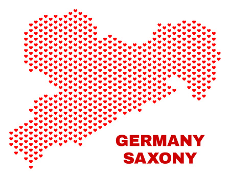 Mosaic Saxony Land map of love hearts in red color isolated on a white background. Regular red heart pattern in shape of Saxony Land map. Abstract design for Valentine decoration.